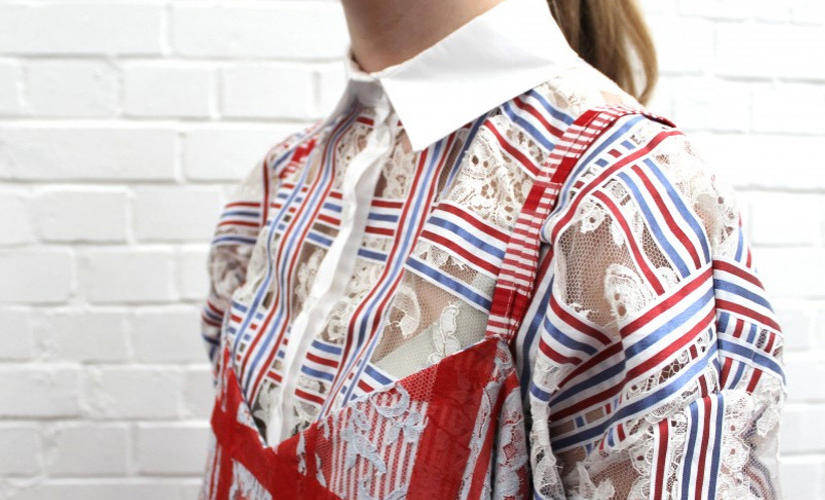 spitzenstoff in moderner bluse